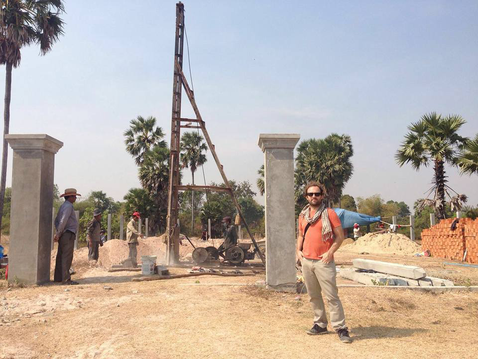 Andy at Cambodian building site